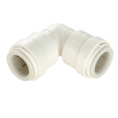 "Picture of Sea Tech 35 Series 3/8"" Female QC Copper Tube Off-White Polysulfone Fresh Water 90 Degree Union Elbow 013517-08 10-8161"