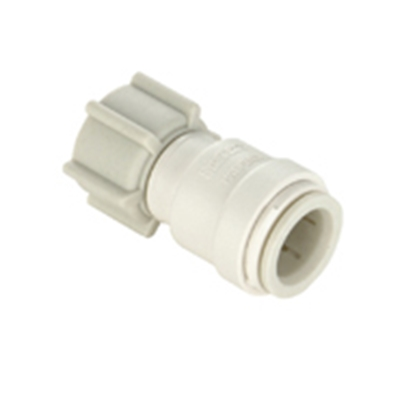 """Picture of Sea Tech 35 Series 1/2"""" Female QC Copper Tube x 1/2"""" FNPS Swivel Nut Off-White Polysulfone Fresh Water Straight Fitting 01351"""