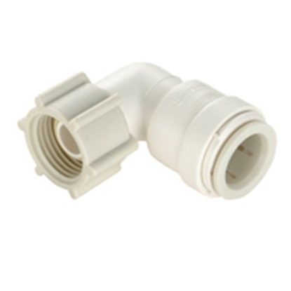 "Picture of Sea Tech 35 Series 1/2"" Female QC Copper Tube x 1/2"" FNPS Swivel Nut Off-White Polysulfone Fresh Water 90 Deg Elbow 013520-10"