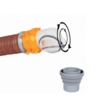 Picture of Camco Revolution White Swivel 4-In-1 Sewer Hose Connector w/Elbow 39471 11-0026
