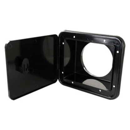 "Picture of JR Products  Black 5-7/8""RO Lockable Multi-Purpose Hatch Access Door L8D83-A 11-0066"