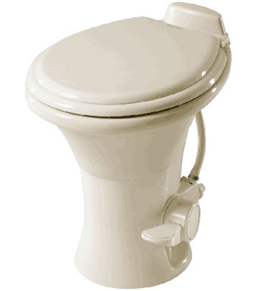 "Picture of Dometic Revolution (TM) 310 Series Bone 18"" Pedal Flush Ceramic Permanent Toilet 302310073 12-0009"