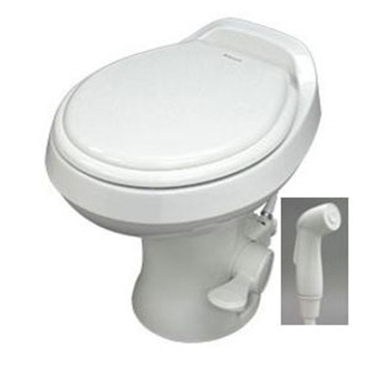 "Picture of Dometic Revolution (TM) 300 Series Bone 18"" Pedal Flush Permanent Toilet w/ Hand Sprayer 302300173 12-0018"