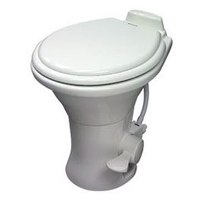 "Picture of Dometic Revolution (TM) 310 Series Bone 18"" Pedal Flush Ceramic Permanent Toilet 302310173 12-0025"