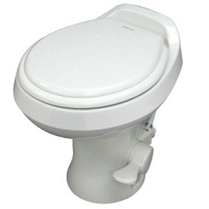 "Picture of Dometic Revolution (TM) 300 Series White 13-1/2"" Pedal Flush Permanent Toilet 302301671 12-0040"