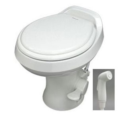 "Picture of Dometic Revolution (TM) 300 Series Bone 13-1/2"" Pedal Flush Permanent Toilet w/ Hand Sprayer 302301773 12-0043"
