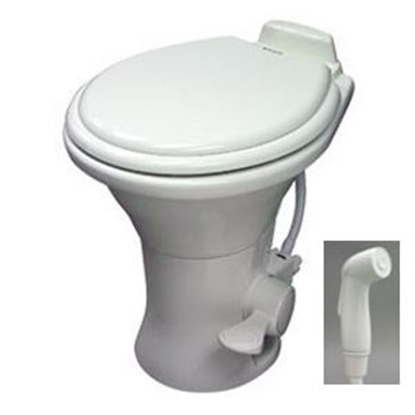 "Picture of Dometic Revolution (TM) 310 Series Bone White 13-3/4"" Low Profile Pedal Flush Permanent Toilet w/ Hand Sprayer 302311773 12-0"