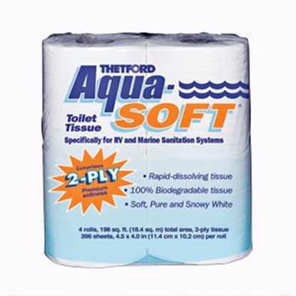 Picture of Thetford Aqua-Soft (R) 2-Ply Aqua-Soft RV/Marine Toilet Tissue / Paper, 4-Pack 03300 13-0102