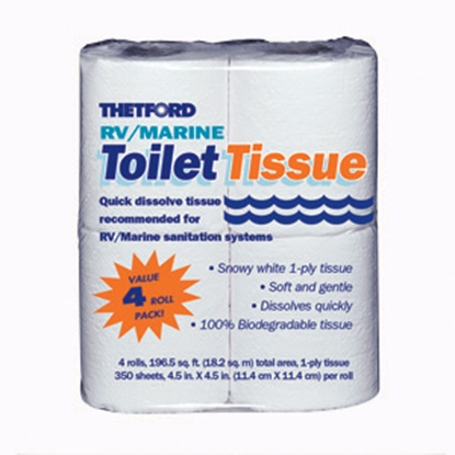 Picture of Thetford  1-ply RV/Marine Toilet Tissue / Paper, 4-Pack 20804 13-0156