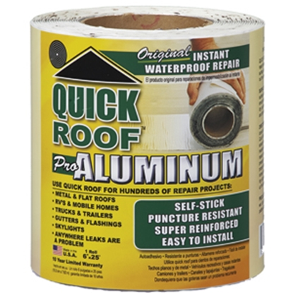 "Picture of Quick Roof  6"" x 25' Roll Aluminum Foil Roof Repair Tape QR625 13-1441"