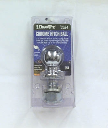 "Picture of Tow-Ready  Chrome 2"" Trailer Hitch Ball w/ 1"" Diam x 2-1/8"" Shank 63909 14-1096"