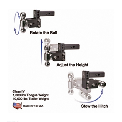 """Picture of B&W Hitches Tow & Stow Model 12 Class IV 2"""" 10K 9"""" Drop x 9-1/2"""" Lift Double Ball Mount TS10043B 14-3309"""