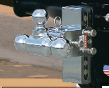 """Picture of B&W Hitches Tow & Stow Model 10 Class IV 2"""" 10K 7"""" Drop x 7-1/2"""" Lift Triple Ball Mount TS10049B 14-3343"""