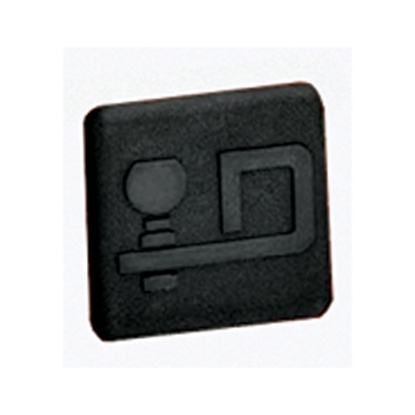 "Picture of Draw-Tite  2"" Black D Logo Rubber Hitch Cover 7050 14-7339"