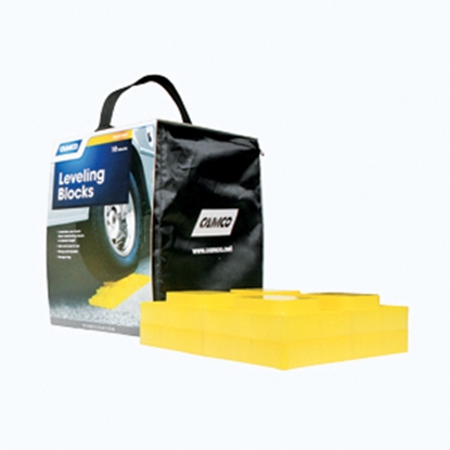 "Picture of Camco  10-Pk 8.25""x8.25""x1"" Plastic Interlocking Levelling Blocks w/Storage Bag 44505 15-0466"