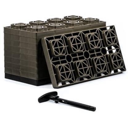 """Picture of Camco FasTen 10-Pk 4""""x2"""" Plastic Interlocking Levelling Blocks 44525 15-1447"""