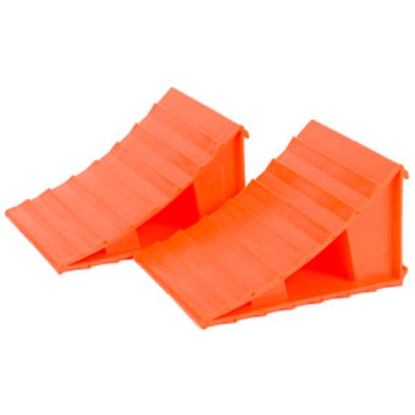 Picture of Husky Towing  Set-2 Bright Orange Plastic Wheel Chock 38511 15-1565