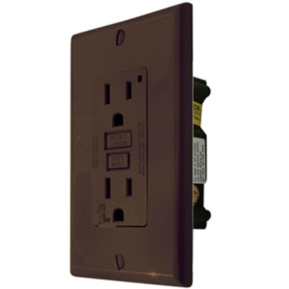Picture of Diamond Group  Black 120V/ 15A Indoor/Outdoor Single GFI Receptacle VGF15BK 15-8380