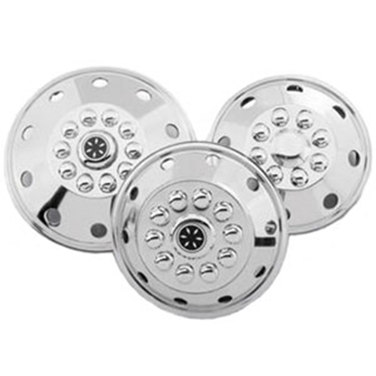 "Picture of Dicor Standard Series Single 16-1/2"" Polished Stainless Steel Wheel Cover SHFM65-COV 17-0735"