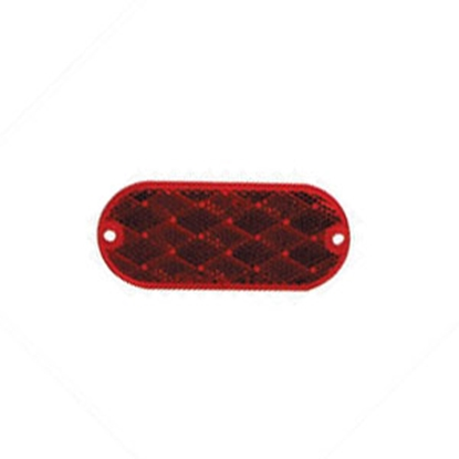 """Picture of Peterson Mfg.  4-3/8""""x1-7/8"""" Oblong Red Screw Mount Reflector B479R 18-0389"""