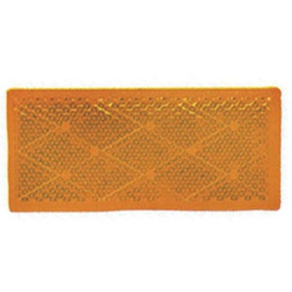 """Picture of Peterson Mfg. Quick Mount 3-1/8""""x1-3/8"""" Rectangular Amber Stick-On Reflector V483A 18-0392"""