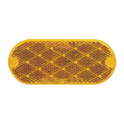 "Picture of Peterson Mfg. Quick Mount 2-Pack 4-3/8""x1-7/8"" Oblong Amber Stick-On Reflector V480A 18-0545"