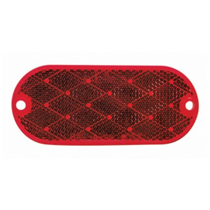 "Picture of Peterson Mfg. Quick Mount 2-Pack 4-3/8""x1-7/8"" Oblong Red Stick-On Reflector V480R 18-0546"