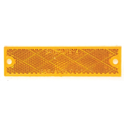"""Picture of Peterson Mfg.  4-3/8""""x1-1/8"""" Rectangular Amber Screw Mount Reflector V487A 18-0547"""