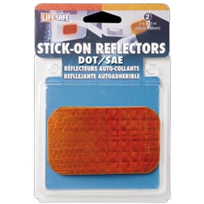 """Picture of Top Tape  2-Pack 2""""x2-1/2"""" Rectangular Amber Stick-On Reflector RE7070 18-1891"""