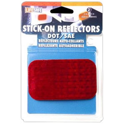"""Picture of Top Tape  2-Pack 2""""x2-1/2"""" Rectangular Red Stick-On Reflector RE7071 18-1893"""