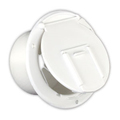 "Picture of JR Products  Polar 3-1/2""RO White Round Lockable Electrical Hatch Access Door 370-2-A 19-0198"