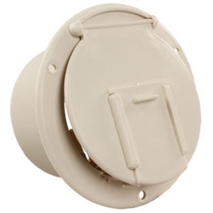 "Picture of JR Products  Colonial White 3-1/2""RO Round Lockable Electrical Hatch Access Door 370-1-A 19-0199"