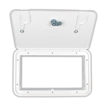 "Picture of JR Products  Polar 11-1/16""RO White Lockable Electrical Hatch Access Door ZH152-A 19-0239"