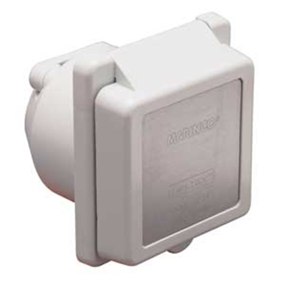 Picture of Marinco  White 125V/ 30A Outdoor/ Indoor Single Receptacle 301ELRV 19-0423