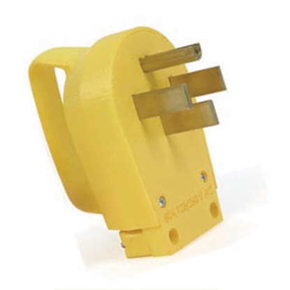 Picture of Camco Power Grip (TM) Yellow 50A Male Power Cord Plug End w/ Handle 55255 19-0485