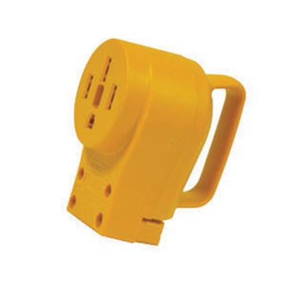 Picture of Camco Power Grip (TM) Yellow 50A Female Power Cord Plug End w/ Handle 55353 19-0497