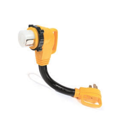 """Picture of Camco Power Grip (TM) 18"""" 50F/50M 90 Deg Locking Power Cord Adapter 55562 19-0630"""