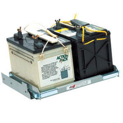 "Picture of Kwikee  16-13/16""L x 16-9/16""W x 3-3/16""H Steel Battery Tray for 1-8 Batteries 366342 19-0722"