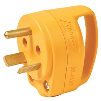 Picture of Camco Power Grip (TM) Yellow 30A Male Power Cord Plug End w/ Handle 55283 19-1411