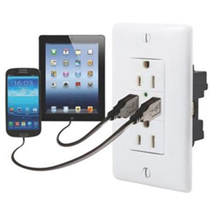 Picture of Diamond Group  White 125V/ 3A Dual Receptacle w/ 2 USB Ports 61070USB 19-1643
