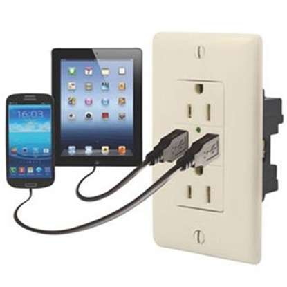 Picture of Diamond Group  Almond 125V/ 20A Dual Receptacle w/ 2 USB Ports 61071USB 19-1645