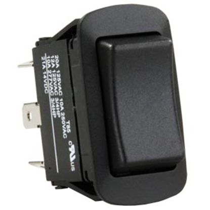 Picture of JR Products  Black 125V/ 20A SPDT Rocker Switch 13835 19-2008