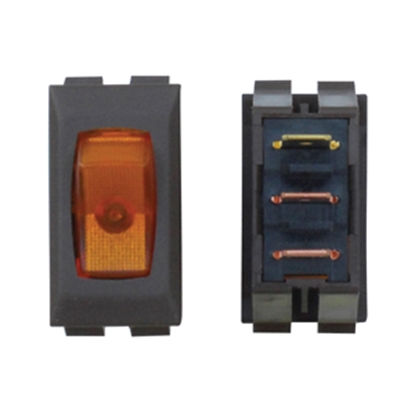 Picture of Diamond Group  1-Piece Brown w/Amber Light SPST Rocker Switch A1-33C 19-2058