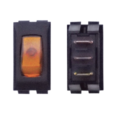 Picture of Diamond Group  1-Piece Black w/Amber Light SPST Rocker Switch A1-37C 19-2060