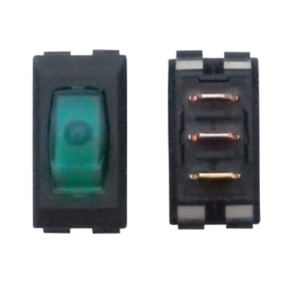 Picture of Diamond Group  1-Piece Black w/Green Light SPST Rocker Switch A1-38C 19-2061