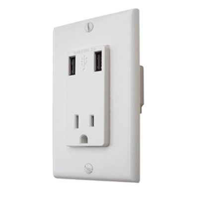 Picture of Diamond Group  White 110V Receptacle w/ 2 USB Charging Ports 61060USB 19-2694