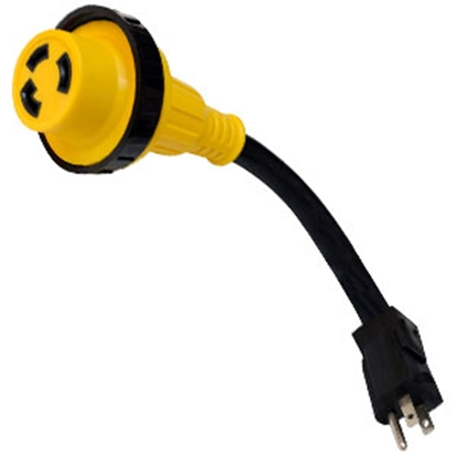 "Picture of Mighty Cord  12"" 15M/30F Power Cord Adapter A10-1530DBK 19-2946"