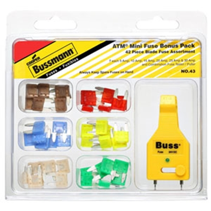 Picture of Bussman  43-Piece ATM Blade Fuse Assortment In Clamshell Pack NO.43 19-3802