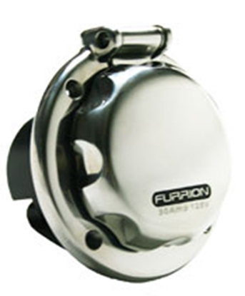 Picture of Furrion  Stainless Steel 125/250V 50A Outdoor Round Single Receptacle 381661 19-8176