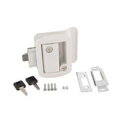 Picture of AP Products  White Lockable Entry Door Latch 013-571 20-0032